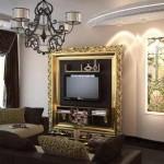проект гостиной комнаты - оригинальное решение по размещению телевизора