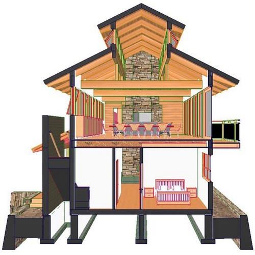 план деревянного коттеджа