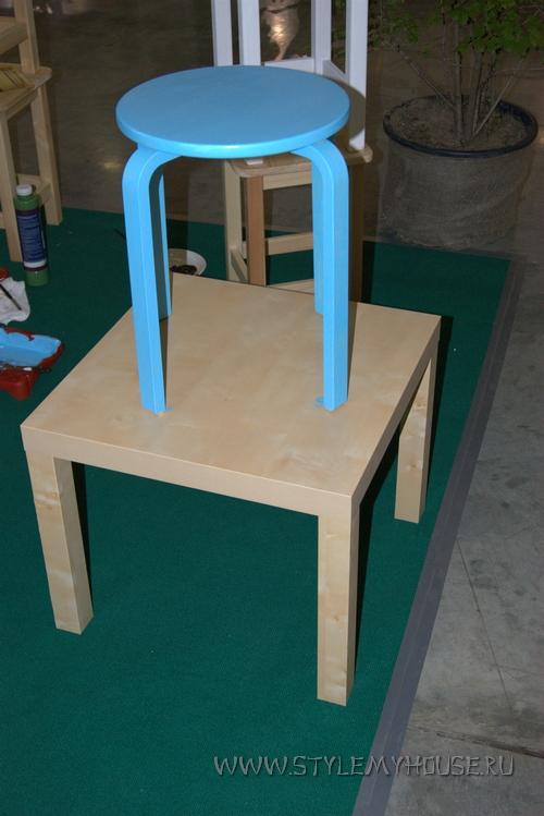 пример окраски табурета из ИКЕИ