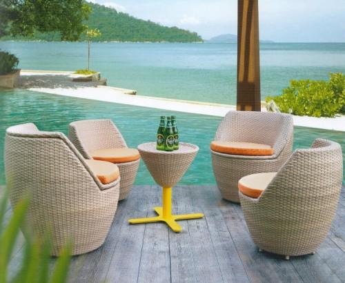 плетеная мебель для открытой террасы