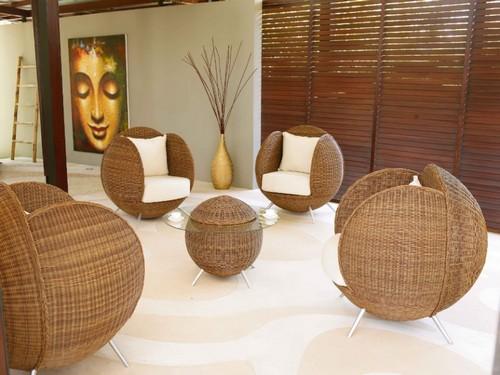 комплект плетеной мебели кокон