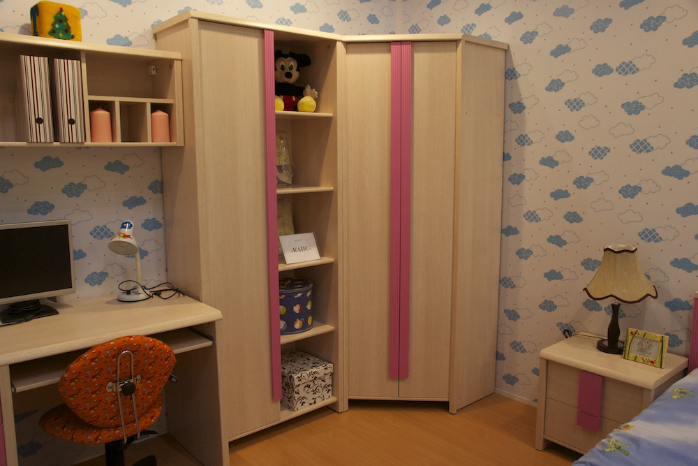 шкаф гардероб с полками для книг для детской комнаты